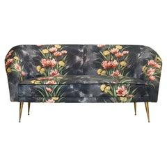 Mid-Century Modern Bronze and Original Upholstery Italian Sofa