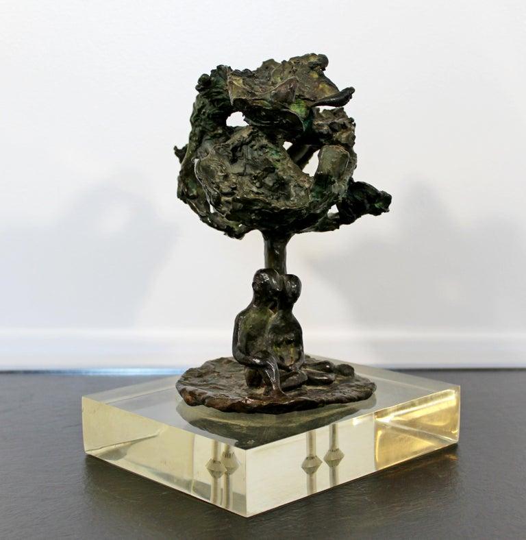 American Mid-Century Modern Bronze Art Sculpture by Arthur Schneider, 1970s For Sale