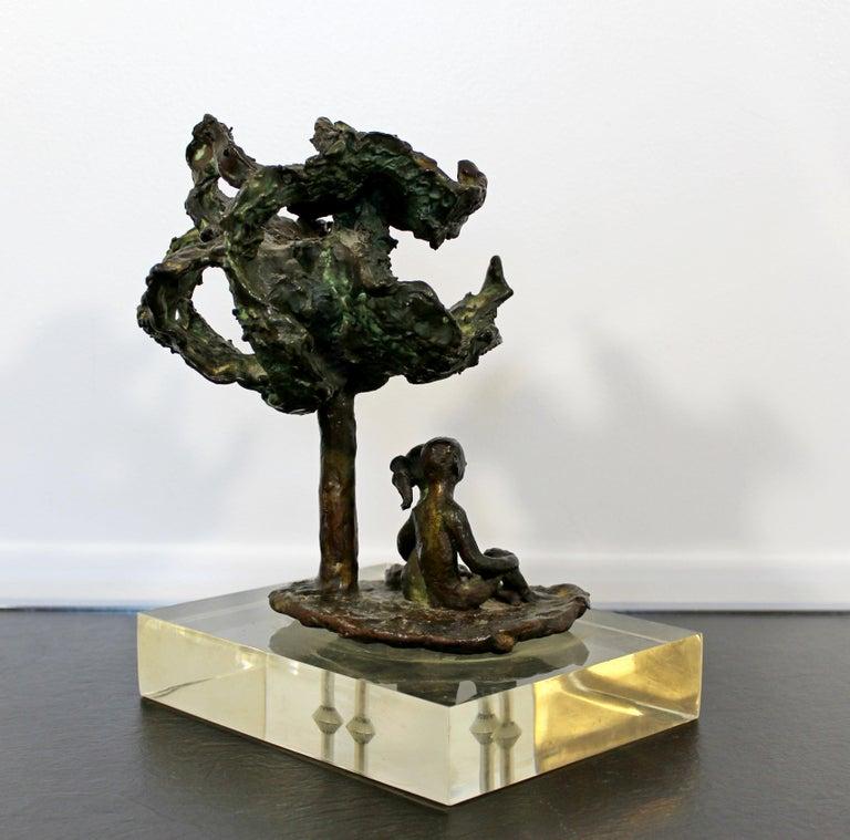Late 20th Century Mid-Century Modern Bronze Art Sculpture by Arthur Schneider, 1970s For Sale