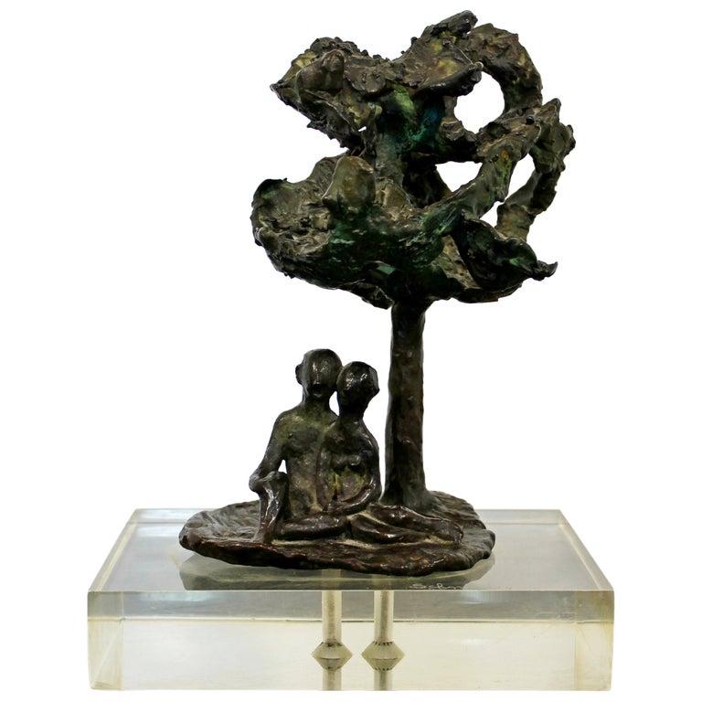 Mid-Century Modern Bronze Art Sculpture by Arthur Schneider, 1970s For Sale