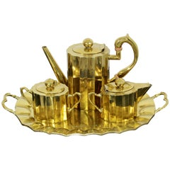 Mid-Century Modern Bronze Brass Coffee Tea Set Attr. J. Jiminez Made in Mexico