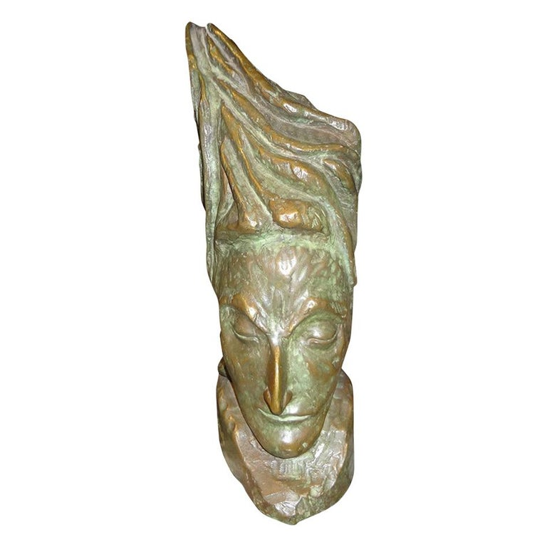 Mid-Century Modern Bronze Bust by J.D. Murillo For Sale