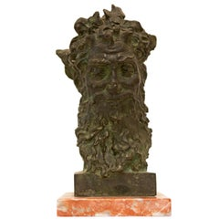 Mid-Century Modern Bronze Bust of Bacchus
