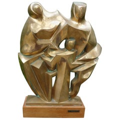 Mid-Century Modern Bronze Cubist Sculpture, Signed F. Prosperi