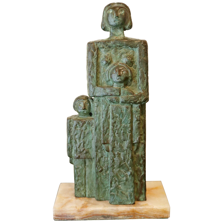 Mid-Century Modern Bronze Cubist Table Sculpture on Marble Signed ZAKO