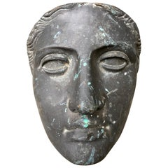 Mid-Century Modern Bronze Face Female Mask Sculpture