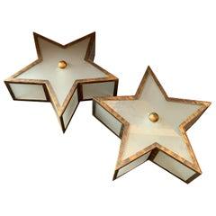 Mid-Century Modern Bronze Gold Gilt Star Glass Flush Mount Light Fixtures, Pair
