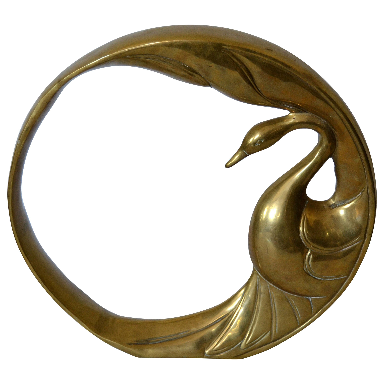 Mid-Century Modern Bronze Golden Swan Ring Table Sculpture by Dolbi Cashier 1984