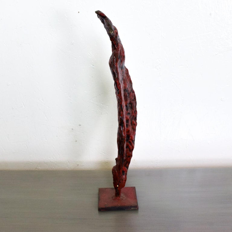 For your consideration, a Mid-Century Modern bronze nude abstract sculpture, Giacometti Era. Heavy, solid bronze with red and black patina. Unmarked. Dimensions: 21