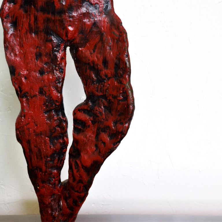 Mid-Century Modern Bronze Nude Abstract Sculpture, Giacometti Era In Good Condition For Sale In National City, CA