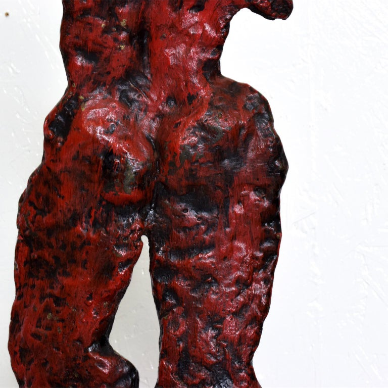 Mid-Century Modern Bronze Nude Abstract Sculpture, Giacometti Era For Sale 3