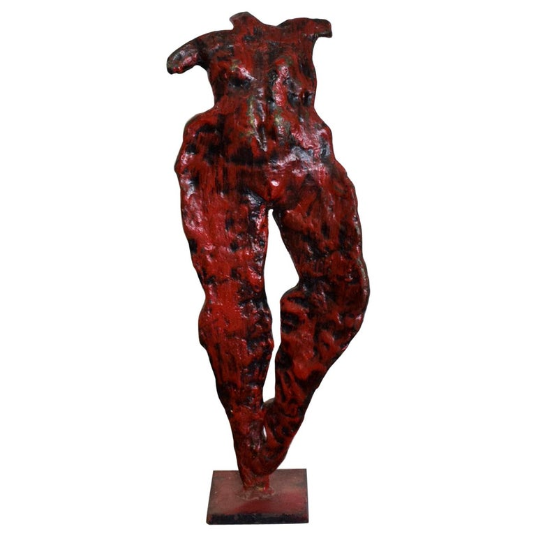 Mid-Century Modern Bronze Nude Abstract Sculpture, Giacometti Era For Sale