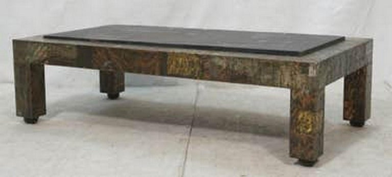 Paul Evans patchwork copper and bronze coffee table with aged riven slate top.