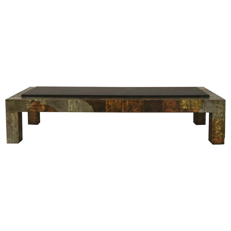 Mid-Century Modern Bronze Patchwork Coffee Table by Paul Evans For Sale