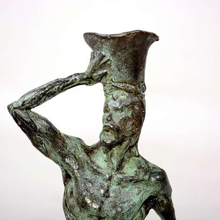 Mid Century Modern Bronze Sculpture Holders After Giacometti For Sale 5