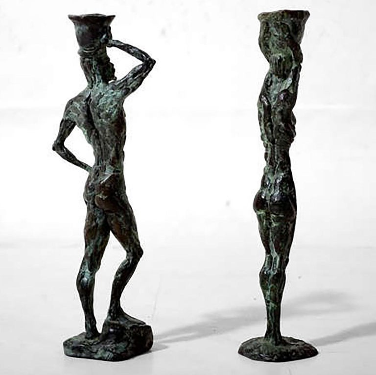 Unknown Mid Century Modern Bronze Sculpture Holders After Giacometti For Sale
