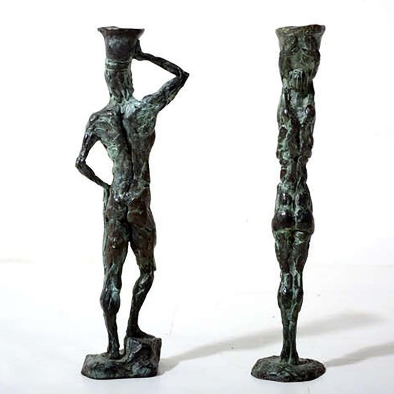 Mid Century Modern Bronze Sculpture Holders After Giacometti In Excellent Condition For Sale In National City, CA