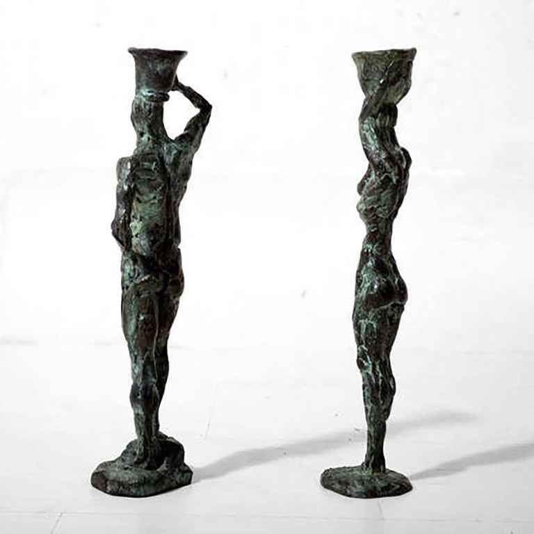 Mid-20th Century Mid Century Modern Bronze Sculpture Holders After Giacometti For Sale