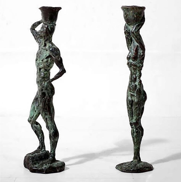 Mid Century Modern Bronze Sculpture Holders After Giacometti For Sale 1