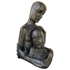 Mid-Century Modern Bronze Sculpture of a Couple Embraced