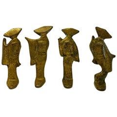 Mid-Century Modern Bronze Set of Japanese Women Awa Odori Dancers