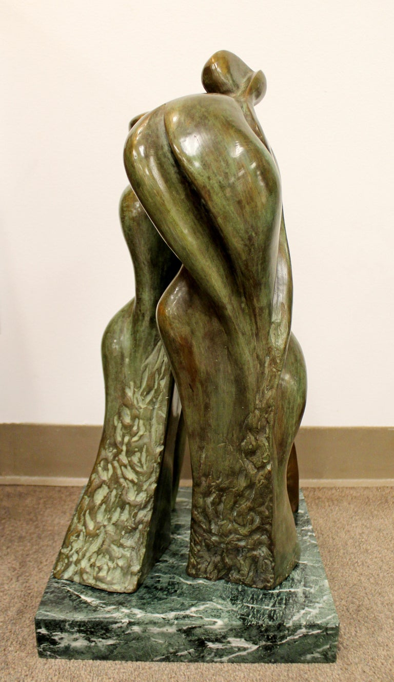 American Mid-Century Modern Bronze Table Sculpture Marble Signed Porret People 2/5 1970s For Sale
