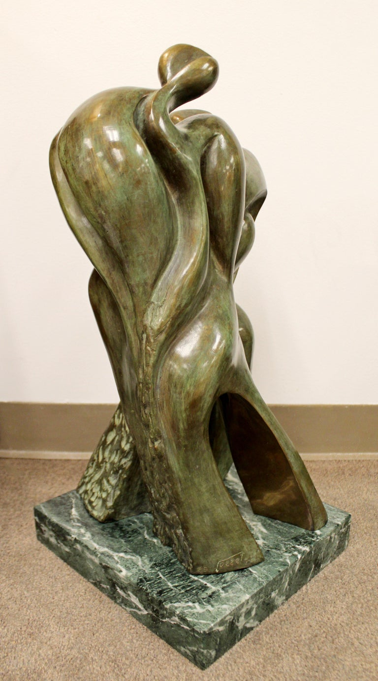 Mid-Century Modern Bronze Table Sculpture Marble Signed Porret People 2/5 1970s In Good Condition For Sale In Keego Harbor, MI