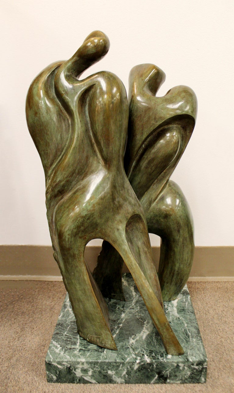 Mid-Century Modern Bronze Table Sculpture Marble Signed Porret People 2/5 1970s For Sale 1