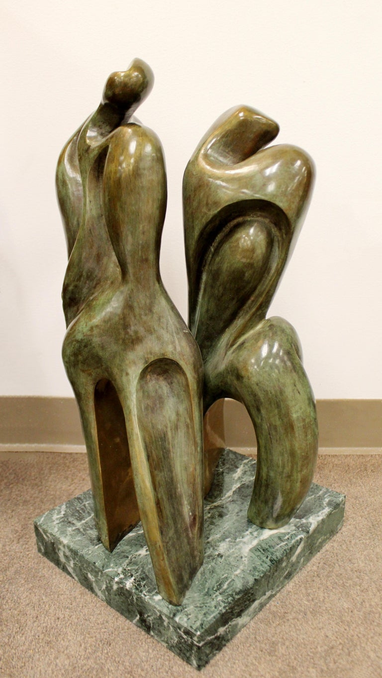 Mid-Century Modern Bronze Table Sculpture Marble Signed Porret People 2/5 1970s For Sale 2