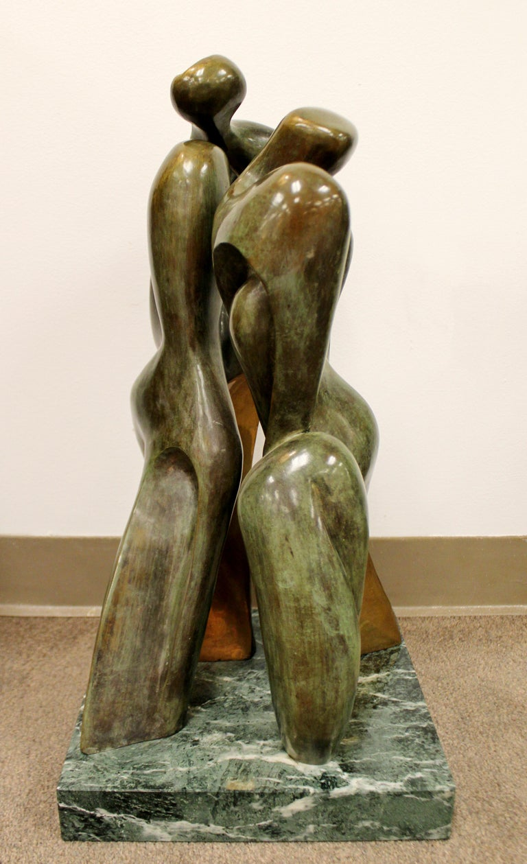 Mid-Century Modern Bronze Table Sculpture Marble Signed Porret People 2/5 1970s For Sale 3