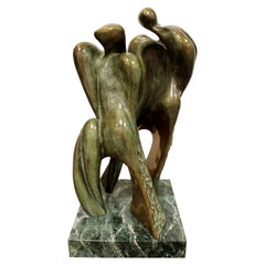 Mid-Century Modern Bronze Table Sculpture Marble Signed Porret People 2/5 1970s
