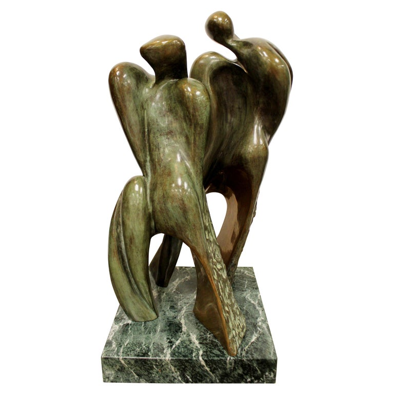 Mid-Century Modern Bronze Table Sculpture Marble Signed Porret People 2/5 1970s For Sale
