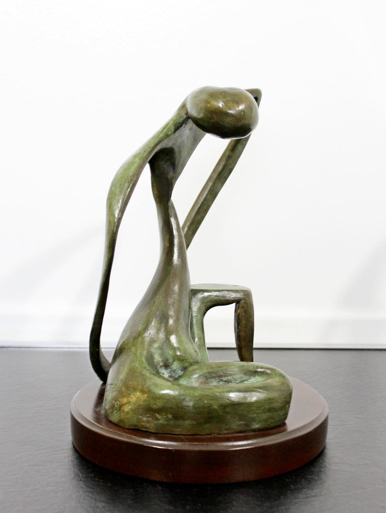 Mid-Century Modern Bronze Table Sculpture Signed Porret Belle Inconnue 1/5 1970s In Good Condition For Sale In Keego Harbor, MI
