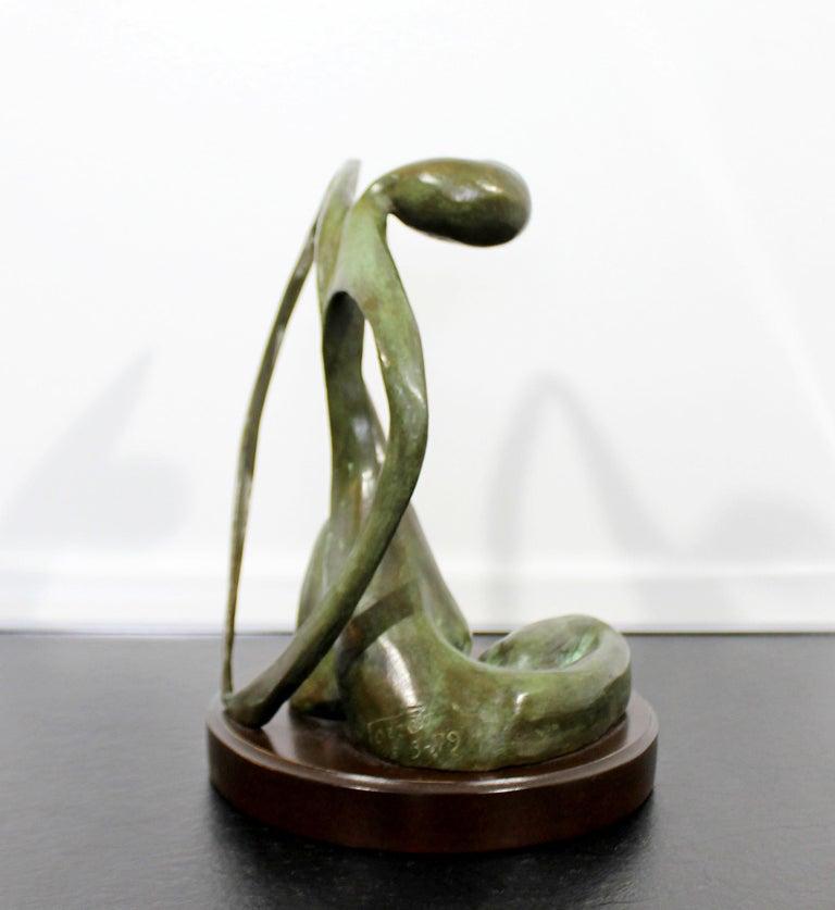 Mid-Century Modern Bronze Table Sculpture Signed Porret Belle Inconnue 1/5 1970s For Sale 1