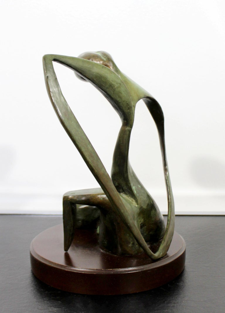 Mid-Century Modern Bronze Table Sculpture Signed Porret Belle Inconnue 1/5 1970s For Sale 4