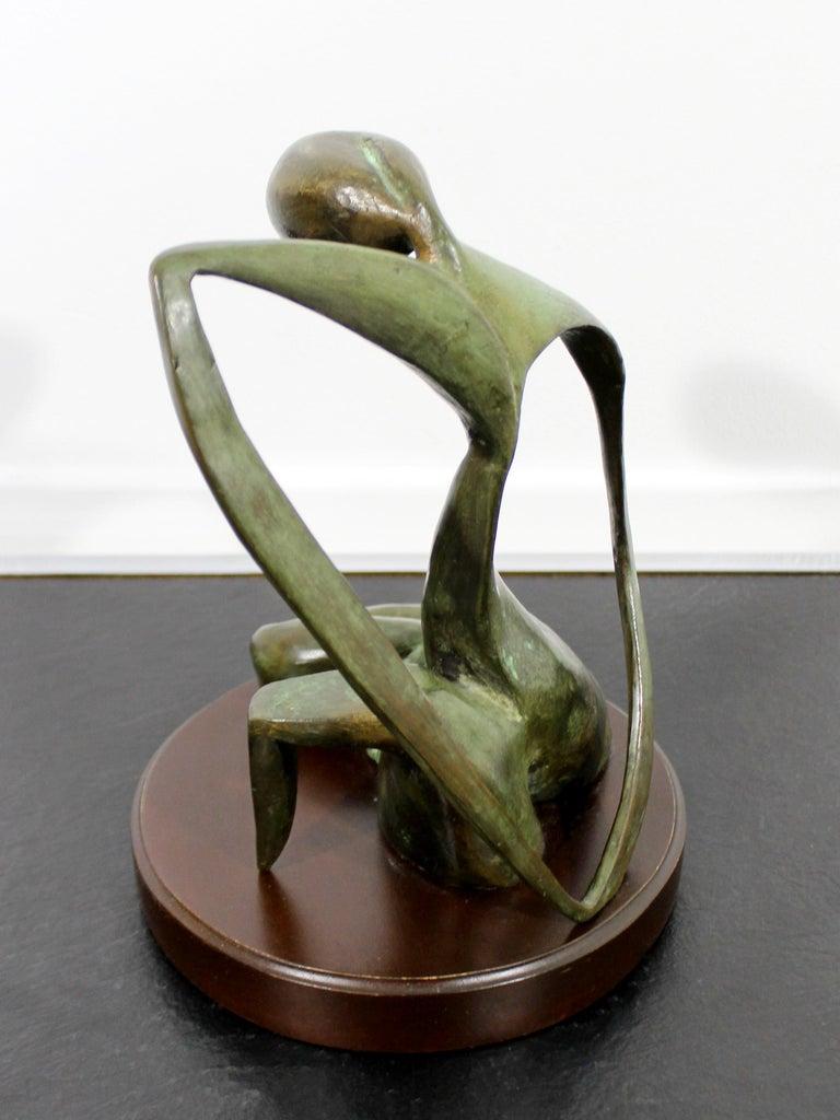 Mid-Century Modern Bronze Table Sculpture Signed Porret Belle Inconnue 1/5 1970s For Sale 5