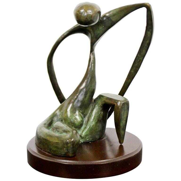 Mid-Century Modern Bronze Table Sculpture Signed Porret Belle Inconnue 1/5 1970s For Sale