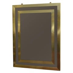 Mid-Century Modern Bronze Tinted Rectangular Mirror with Double Brass Borders
