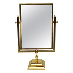 Mid-Century Modern Bronze Two-Sided Vanity Mirror, Table Mirror