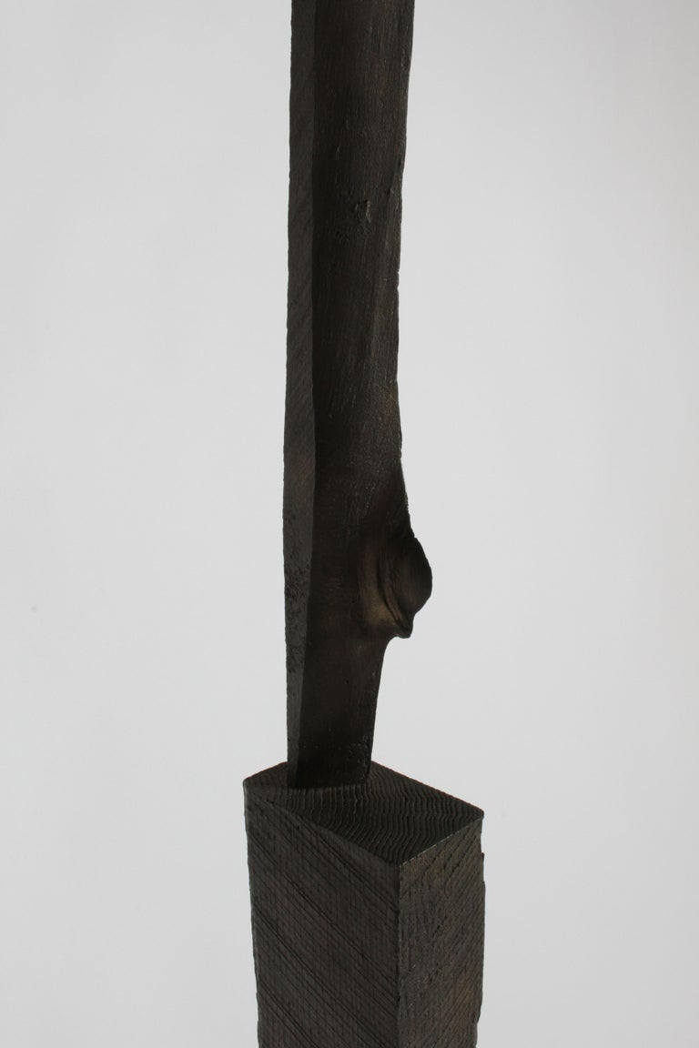 Mid-Century Modern Bronze with Wood Texture Brutalist Style TOTEM Form Sculpture For Sale 8