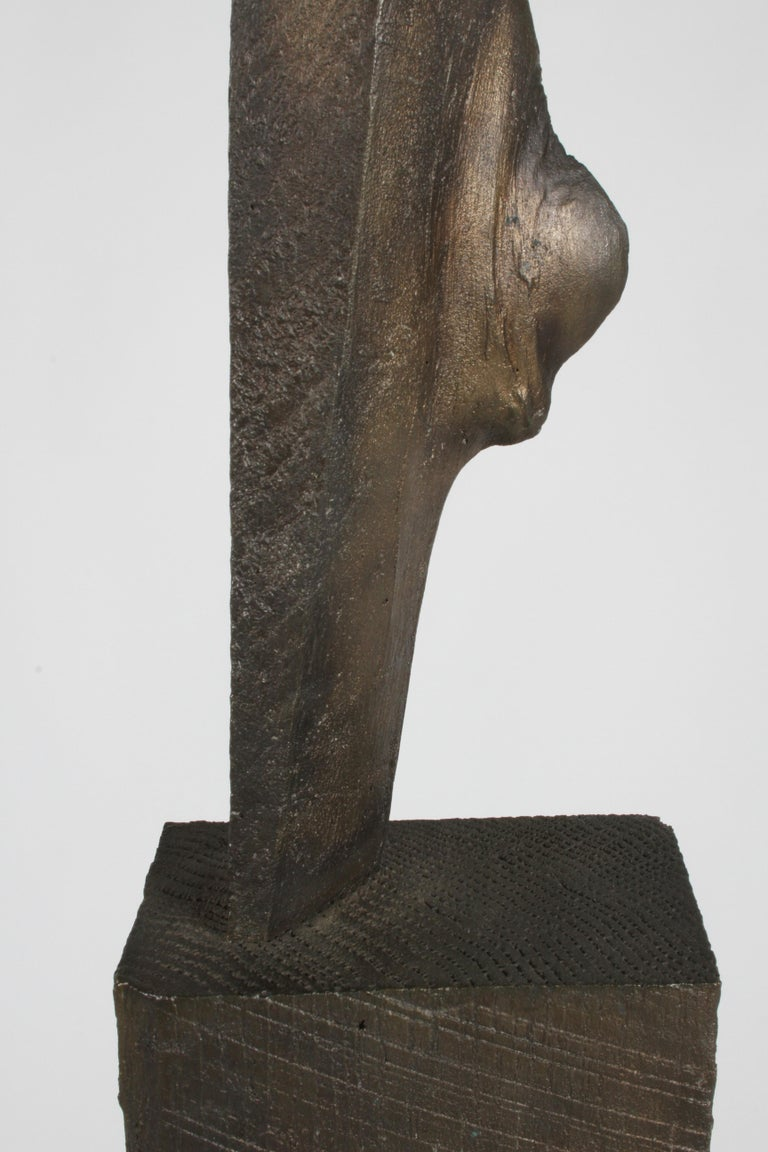 Mid-Century Modern Bronze with Wood Texture Brutalist Style TOTEM Form Sculpture In Good Condition For Sale In St. Louis, MO