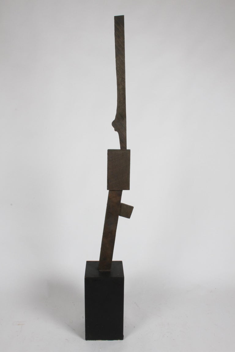 Mid-Century Modern Bronze with Wood Texture Brutalist Style TOTEM Form Sculpture For Sale 3