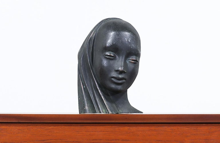 Mid-Century Modern bronze women bust sculpture.