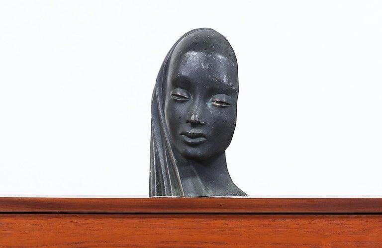 American Mid-Century Modern Bronze Women Bust Sculpture For Sale