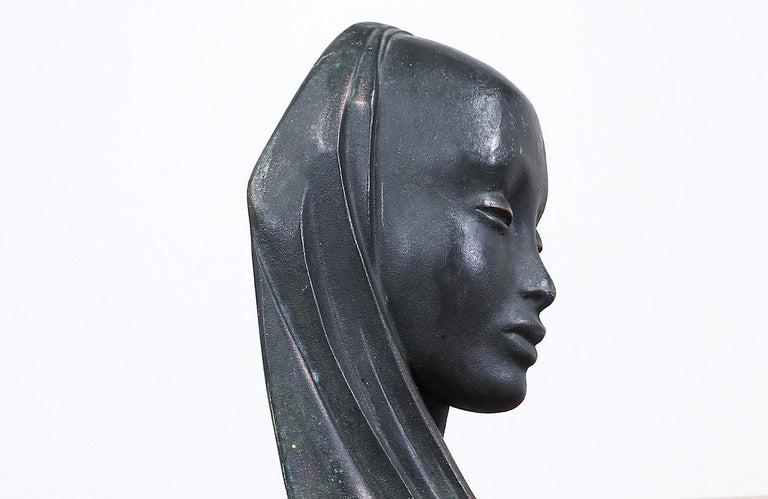 Mid-20th Century Mid-Century Modern Bronze Women Bust Sculpture For Sale