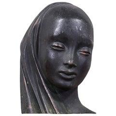 Mid-Century Modern Bronze Women Bust Sculpture