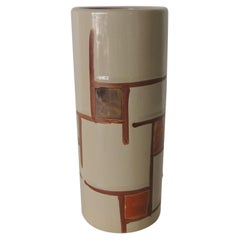 Mid-Century Modern Brown and Orange Round Decorative Vase