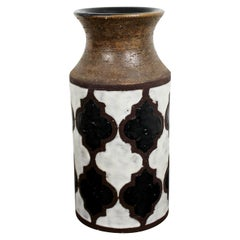 Mid-Century Modern Brown Ceramic Stenciled Art Vase Made in Italy Numbered 1960s