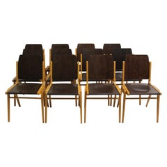 Mid-Century Modern Brown Dining Room Chairs Franz Schuster 1959 Set of Twelve