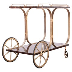 Mid-Century Modern Brown Goat Skin Lacquered Bar Cart by Aldo Tura Italy, C.1960